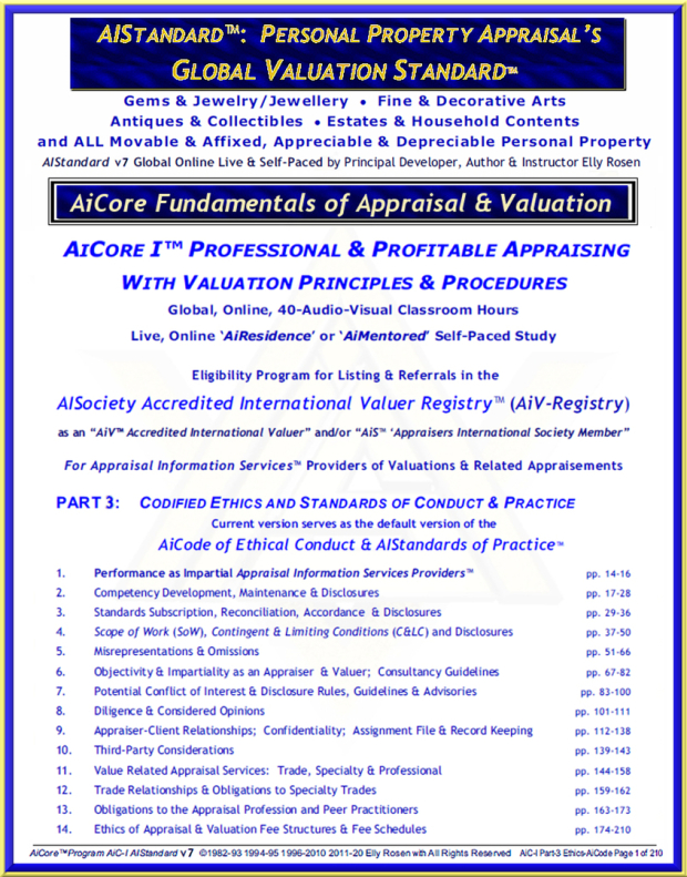 "AiCode v6.54 ToC of the 210-page ""Ethics"", Part-3 of the AiCore-I™ Personal Property Appraisal & Valuation Principles & Procedures Course.  14 AiCore Ethical Principles™ of The AiCode of Ethical Conduct & AIStandards of Practice™ v6.54"
