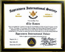"""AiCore-I Valuation Principles & Procedures"" Certificate of Completion & AISociety Member ""AiS - Appraisers International Society"" Title Appellation with Member # Listed for Referrals in the AIS Accre"