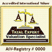 AiCertfied AiSCV-AVS Advanced Valuation Specialist Trial Expert Witness, Consultant & Appraisal Reviewer Accredited International Valuer Registry License #'d Logo