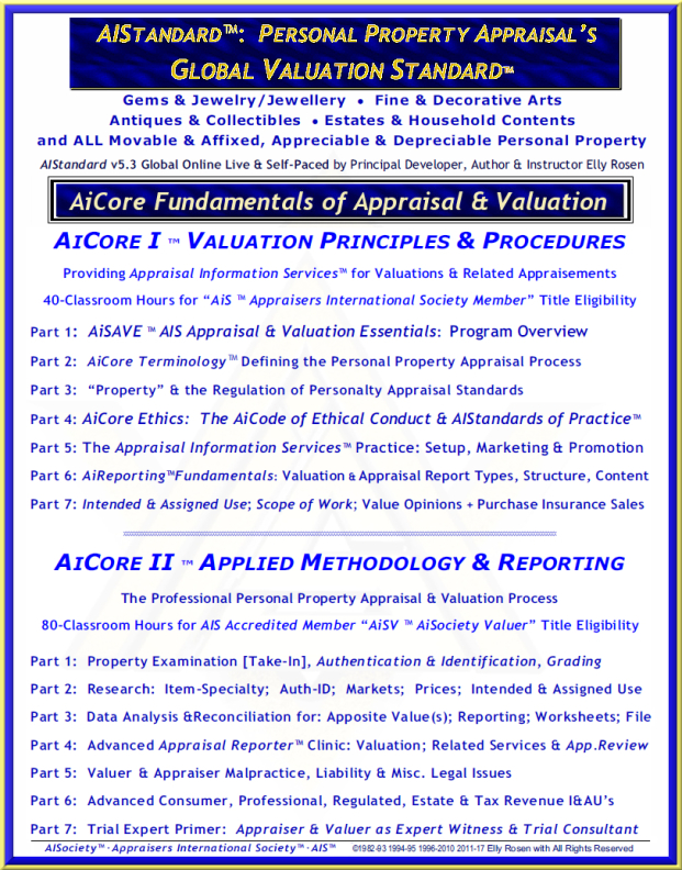"AiCore™ Two-Part Program of Personal Property Valuation & Appraisal to AIStandard v5, The Global Valuation Standard - AiC-I for ""AiS"" - ""AiSociety Member"" & AiC-II for ""AiSV - AISociety Valuer"" AAiCore™ Two-Part Program of Personal Property Appraisal & Va"