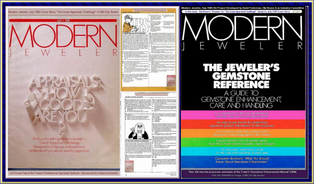 "Elly Rosen 1985 Modern Jeweler Cover Stories with David Federman: July's ""The Great Appraisal Challenge"" & September's  ""JGR - Jewelers Gemstone Reference"" which also had Elly's ""Answers To: The great Appraisal Challenge"""