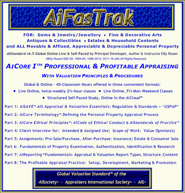 "Personal Property Appraisal's 35th Anniversary Offerings of the 40-Classroom Hour AiFasTrak™ to THE Global Valuation Standard™. AiCertification's NEW ""AiCore-I™ Professional & Profitable Appraising with Valuation Principles & Procedures"""