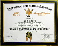 "AiSociety's AiCertification ""AiSCV-AVS Advanced Valuation Specialist"" Certified Valuer Diploma"