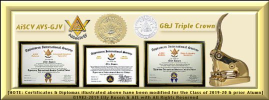 "AISociety AiSV-AiSCV Acredited International Valuer Registry [AiV-Reg License #'d] Triple-Crown Paraphernalia Kit: AiCore ""AiSV"" Completion Certificate & ""AiSV"" Logo; ""AiSCV AVS & GJV"" Diplomas; Embos"