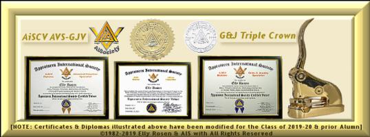 "AISociety AiSV-AiSCV Acredited International Valuer Registry [AiV-Reg License #'d] Triple-Crown Paraphernalia Kit: AiCore ""AiSV"" Completion Certificate & ""AiSV"" Logo; ""AiSCV AVS & GJV"" Diplomas; Embos"